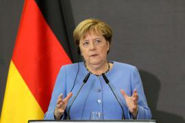 Angela Merkel nimmt an einer gemeinsamen Pressekonferenz mit dem albanischen Premierminister Rama teil.
