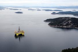 In Norwegen wird auf der Plattform im Gandsfjord bei Stavanger Öl gefördert.