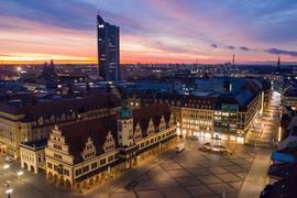 Der Leipziger Marktplatz - im Vordergrund das Alte Rathaus.