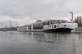Ein Fahrgastkabinenschiff mit etwa 90 Passagieren an Bord liegt auf dem Rhein fest.