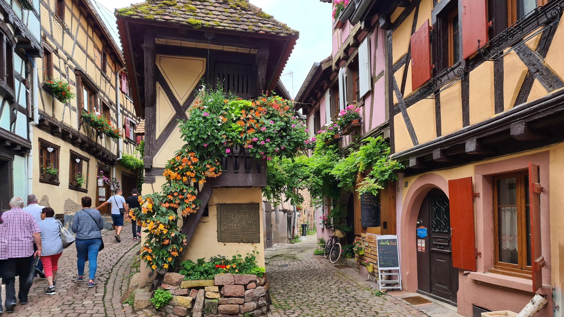 Eines der schönsten Dörfer Frankreichs: Eguisheim, nur wenige Kilometer von Colmar entfernt, ist die Heimat vieler Winzerbetriebe. Hier werden mit dem Eichberg und der Pfersigberg gleich zwei der besten Weine der Region produziert.