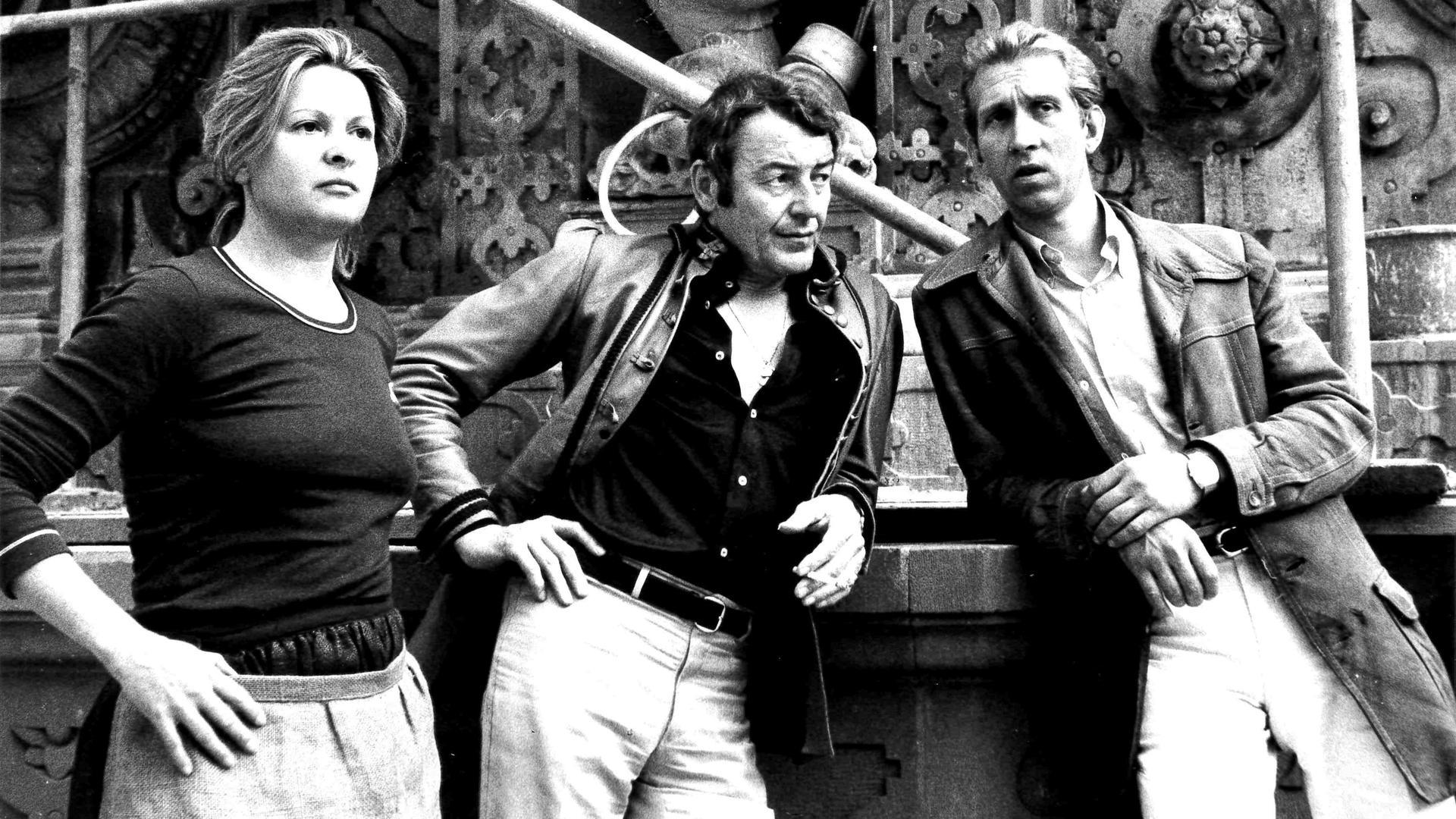 Schauspieler (v.l.) Johanna Matz, Günther Ungeheuer und Rüdiger Wolfgang während der Proben