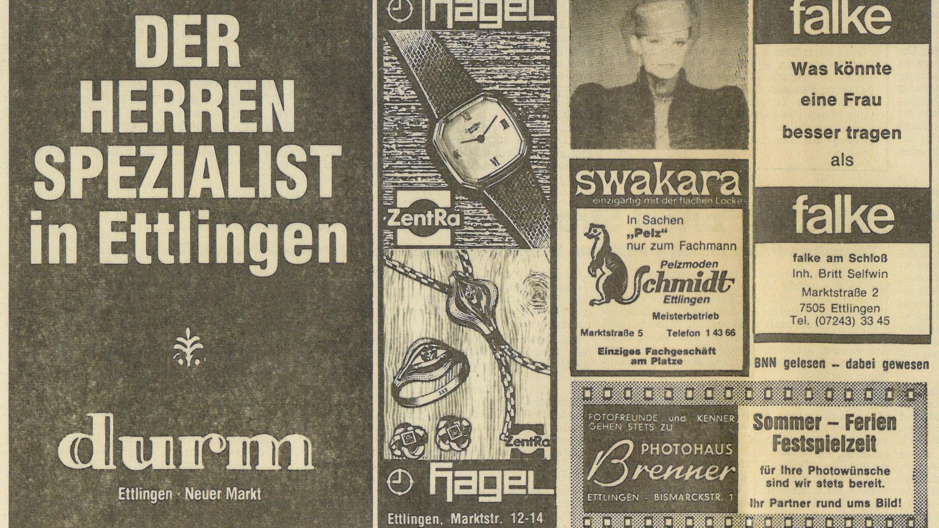 Elegant: Werbeanzeigen aus der Programmankündigung in den BNN von 1979 zeugen davon, dass sich die Ettlinger gerne zurecht machten für ihre Schlossfestspiele.