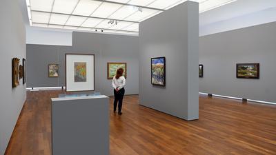 Blick in einen Raum des Museum Frieder Burda in die Ausstellung Impressionismus in Russland - Aufbruch zur Avantgarde.