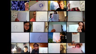 Screenshot des ZKM von der ausschließlich digital durchgeführten ersten Woche der Kulturakademie für das Schuljahr 2020/21. Die landesweite Kulturakademie richtet sich an Schülerinnen und Schüler der Klassen 6 bis 11, in diesem Fall 9 bis 11.