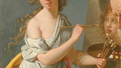 Gemälde einer jungen Frau, die mit langem gelocktem Haar vor einer Staffelei sitzt und ein Bild kopiert.