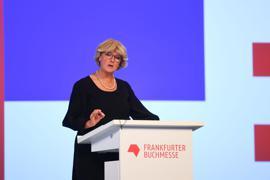Kulturstaatsministerin Monika Grütters bei der Eröffnungsfeier der Frankfurter Buchmesse.