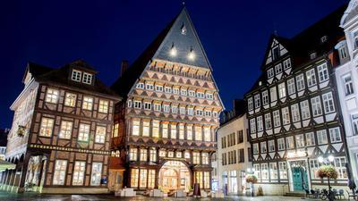 Das historische Knochenhaueramtshaus in Hildesheim. Die Stadt will Kulturhauptstadt 2025 werden.
