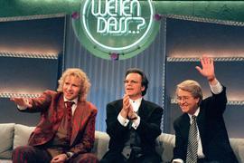 """Thomas Gottschalk (l-r), Wolfgang Lippert und Frank Elstner bei der 100. """"Wetten, dass..?""""-Sendung."""