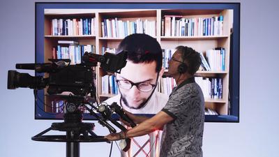 Lesung von Lukas Maisel (Bildschirm) am zweiten Tag des Bachmann-Literaturwettbewerbs.