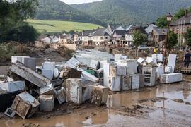 Zerstörungen im Ortskern von Mayschoß (Rheinland-Pfalz).