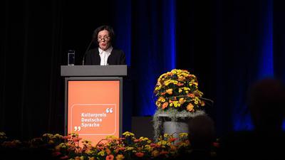 Herta Müller bei der Verleihung des Jacob-Grimm-Preises in Kassel.