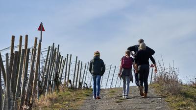 20.02.2020, Rheinland-Pfalz, Walporzheim: Wanderer gehen bei strahlendem Sonnenschein durch die Weinberge oberhalb der Ahr. Für die nächsten Tage sind frühlingshafte Temperaturen angekündigt Foto: Thomas Frey/dpa +++ dpa-Bildfunk +++