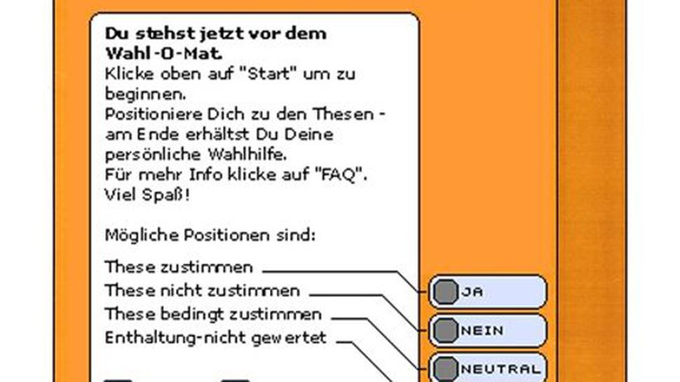 So sah der erste Wahl-O-Mat 2002 aus.