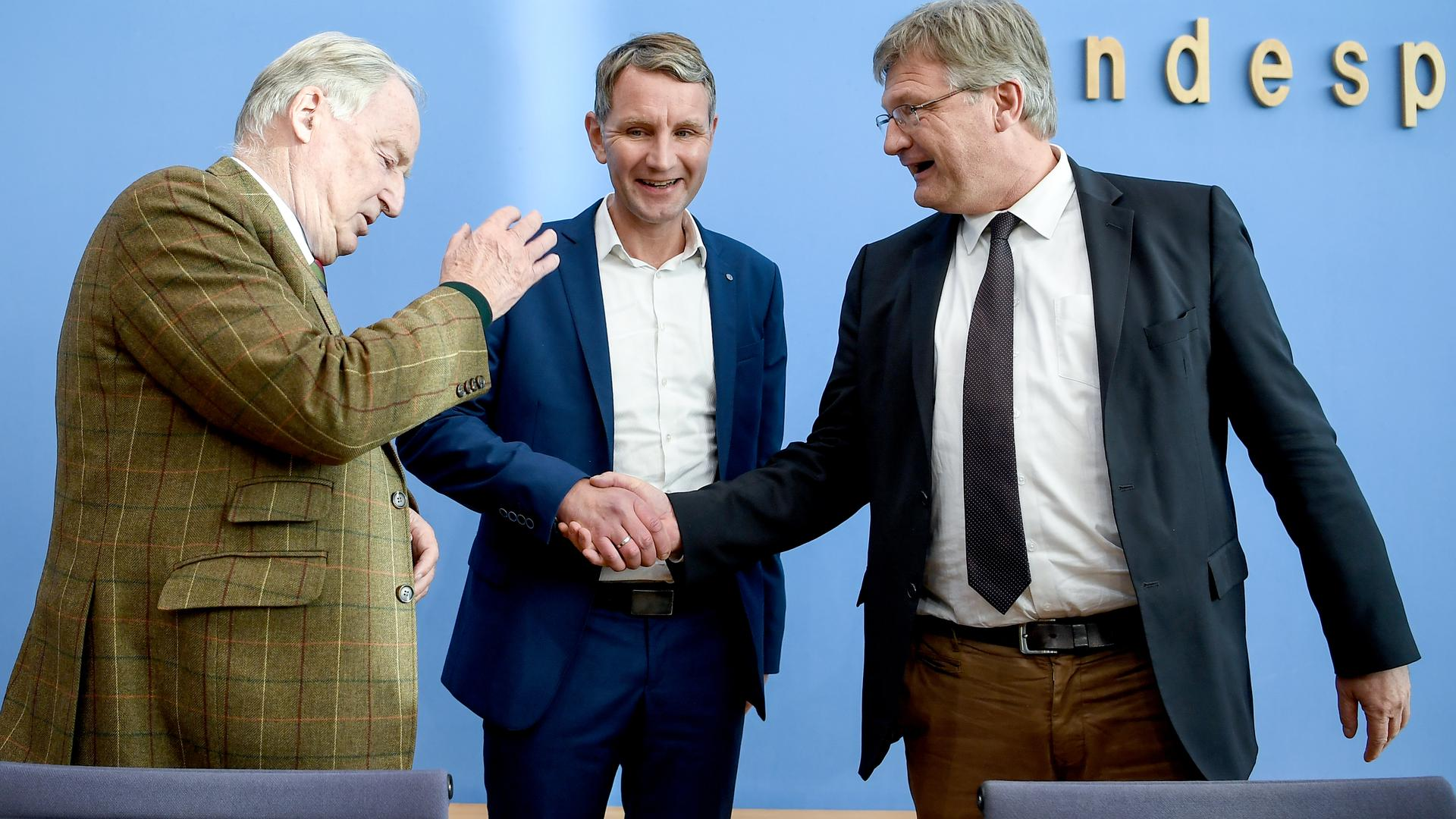 Alexander Gauland (l-r), AfD-Bundessprecher, Björn Höcke, Vorsitzender AfD-Fraktion im Thüringer Landtag, und Jörg Meuthen, AfD-Bundessprecher, geben eine Pressekonferenz über den Ausgang der Landtagswahl in Thüringen in der Bundespressekonferenz. +++ dpa-Bildfunk +++