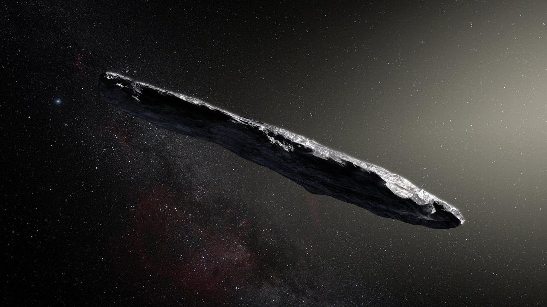 """Seltene Erscheinung verblüfft Astronomen: Vor vier Jahren wurde erstmals der Durchflug eines fremden Himmelskörpers durch unser Sonnensystem beobachtet. Das Objekt mit dem Namen """"Oumuamua"""" (hier eine künstlerische Darstellung) fiel durch seine ungewöhnliche Form und die unerklärliche Beschleunigung auf."""