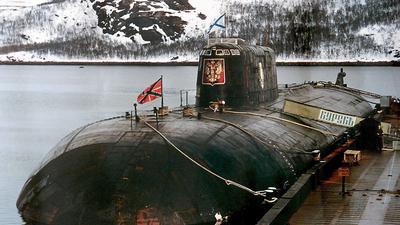 Die «Kursk», aufgenommen in ihrem Heimathafen Widjajewo: Das damals modernste und größte russische Atom-U-Boot sank nach zwei Explosionen in der Barentssee.