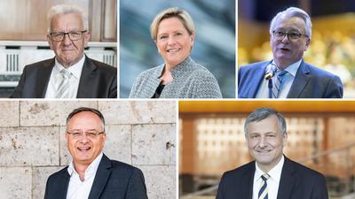 Die Gäste des BNN-Forums: Winfried  Kretschmann  (Bündnis 90/Die Grünen), Susanne  Eisenmann  (CDU), Bernd  Gögel  (AfD), Andreas Stoch  (SPD), Hans-Ulrich  Rülke  (FDP)