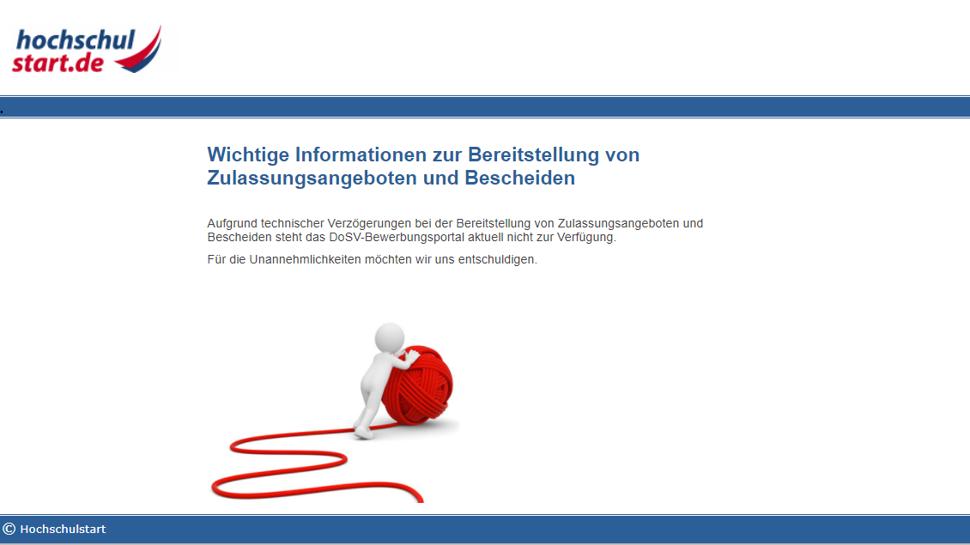 Aktueller Screenshot von der Seite www.hochschulstart.de mit der Fehlermeldung