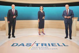 Annalena Baerbock, Olaf Scholz und Armin Laschet beim Triell.
