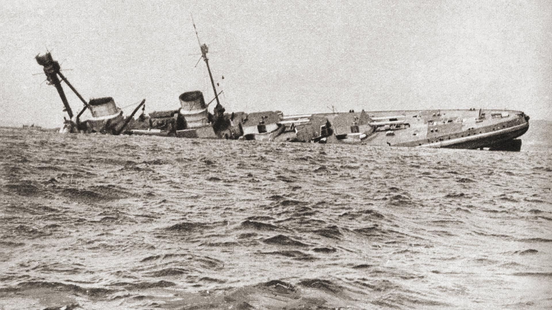 Das deutsche Kriegsschiff SMS Derfflinger sank wie der Rest der Kaiserlichen Hochseeflotte im Juni 1919 in der schottischen Bucht Scapa Flow. Der Stahl der deutschen Wracks ist strahlungsarm und deswegen bei Physikern beliebt.
