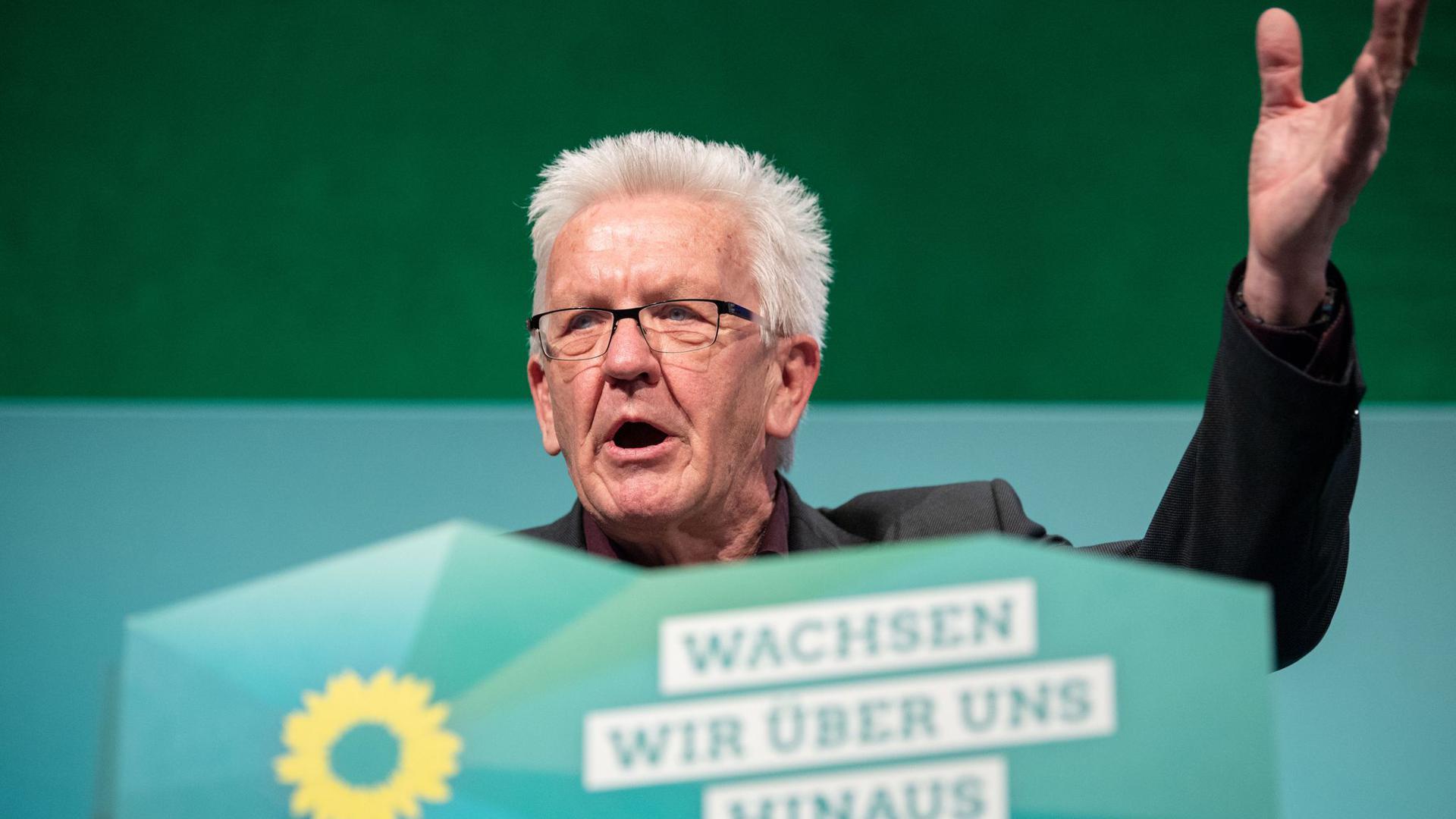 Baden-Württembergs Ministerpräsident Kretschmann (Grüne) bei der Landesdelegiertenkonferenz.