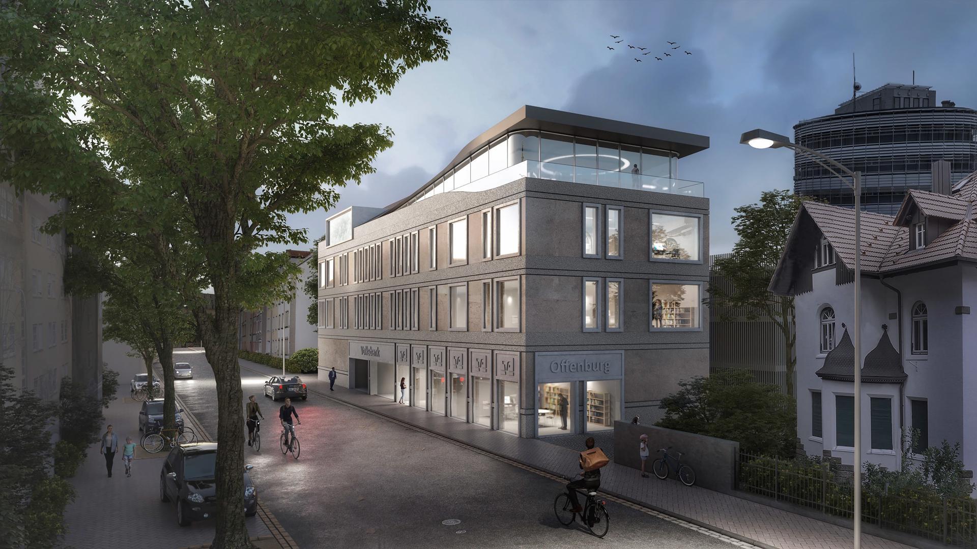 Visualisierung Neubau der Volksbank Offenburg