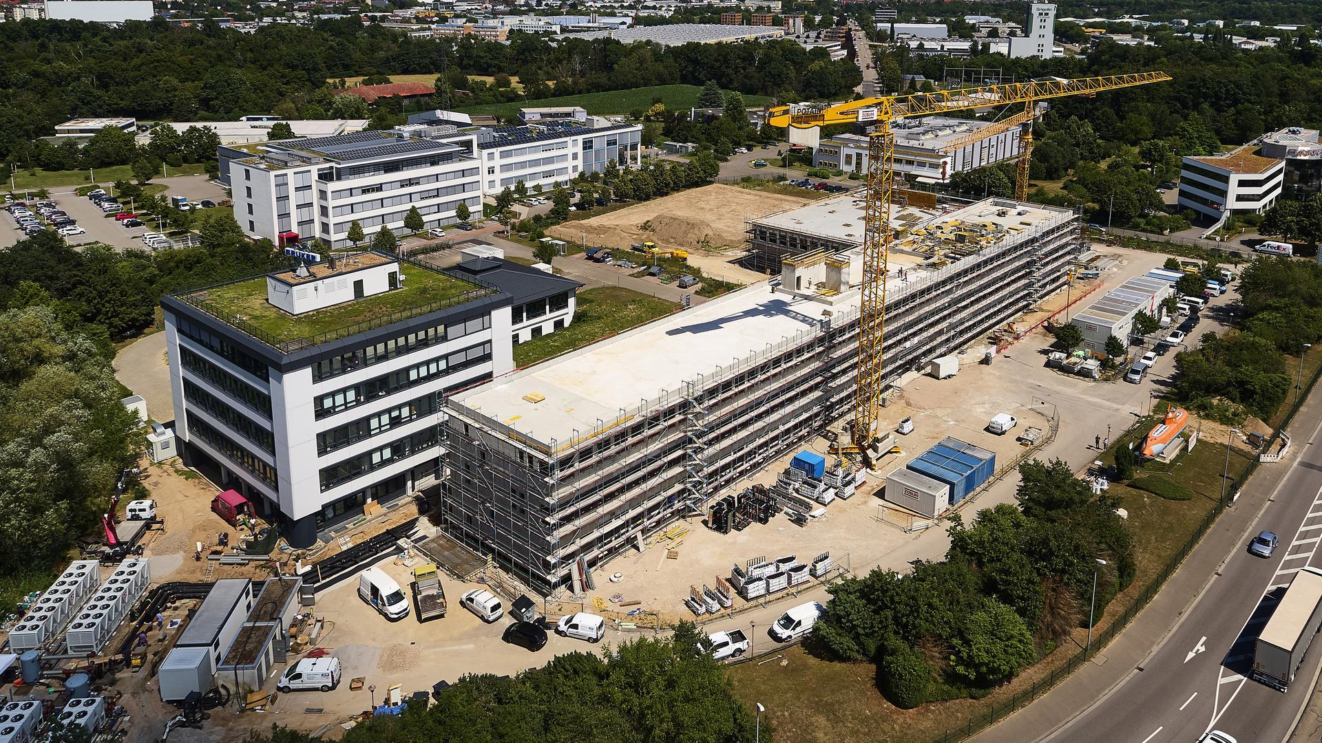 Bauarbeiten am Bruker-Campus in Ettlingen