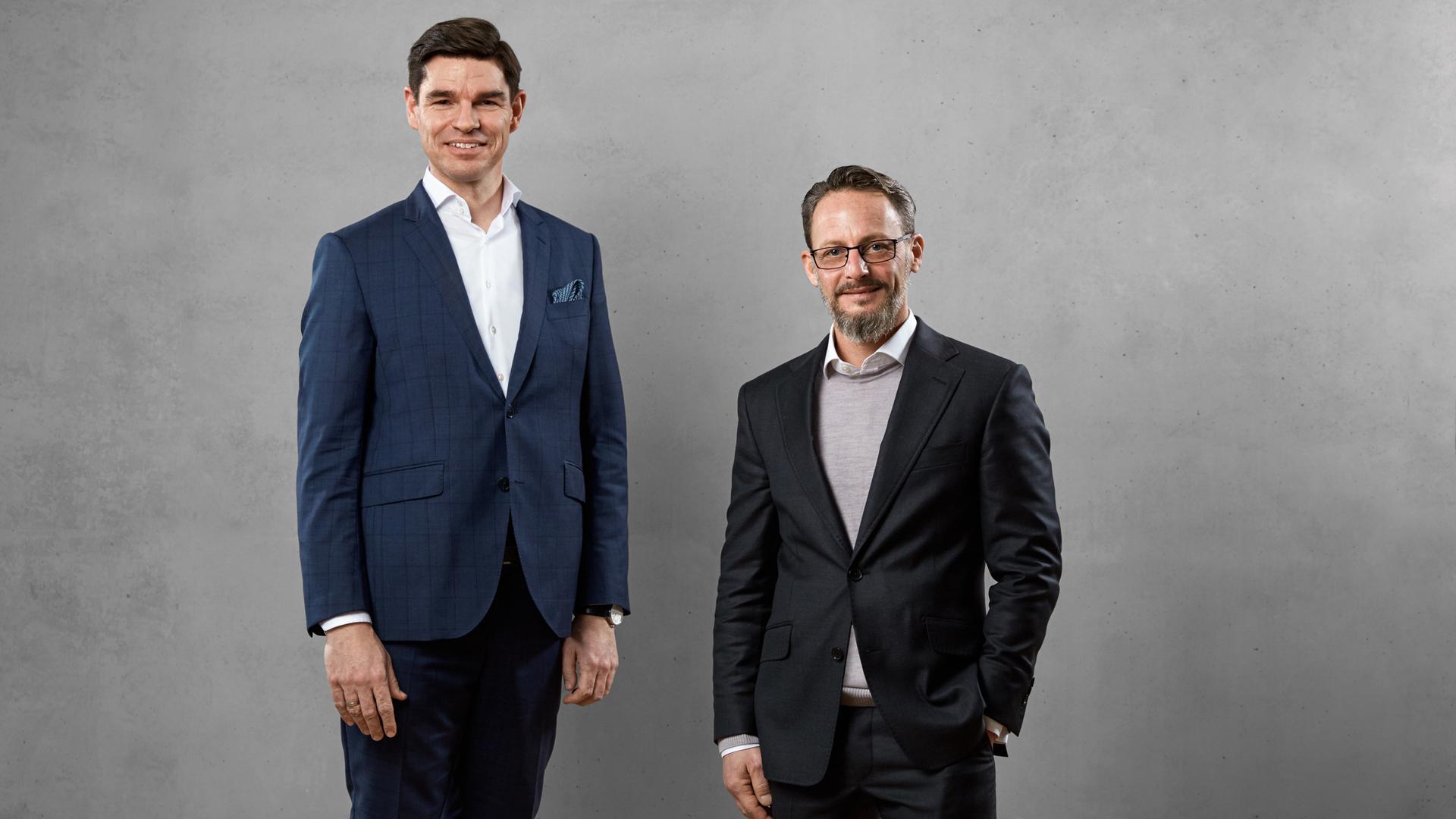 Mike Bucher, Vorstandsvorsitzender der Schöck AG (links), und der Chef der generic.de AG, Michael Puder.