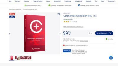 Screenshot: Coronavirus-Antikörper-Test im Onlineshop der Drogeriemarktkette dm