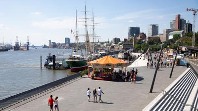 Promenade am Hamburger Hafen. Mit Blick auf Übernachtungen hatten es vor allem große Städte wie Hamburg und Berlin schwer.