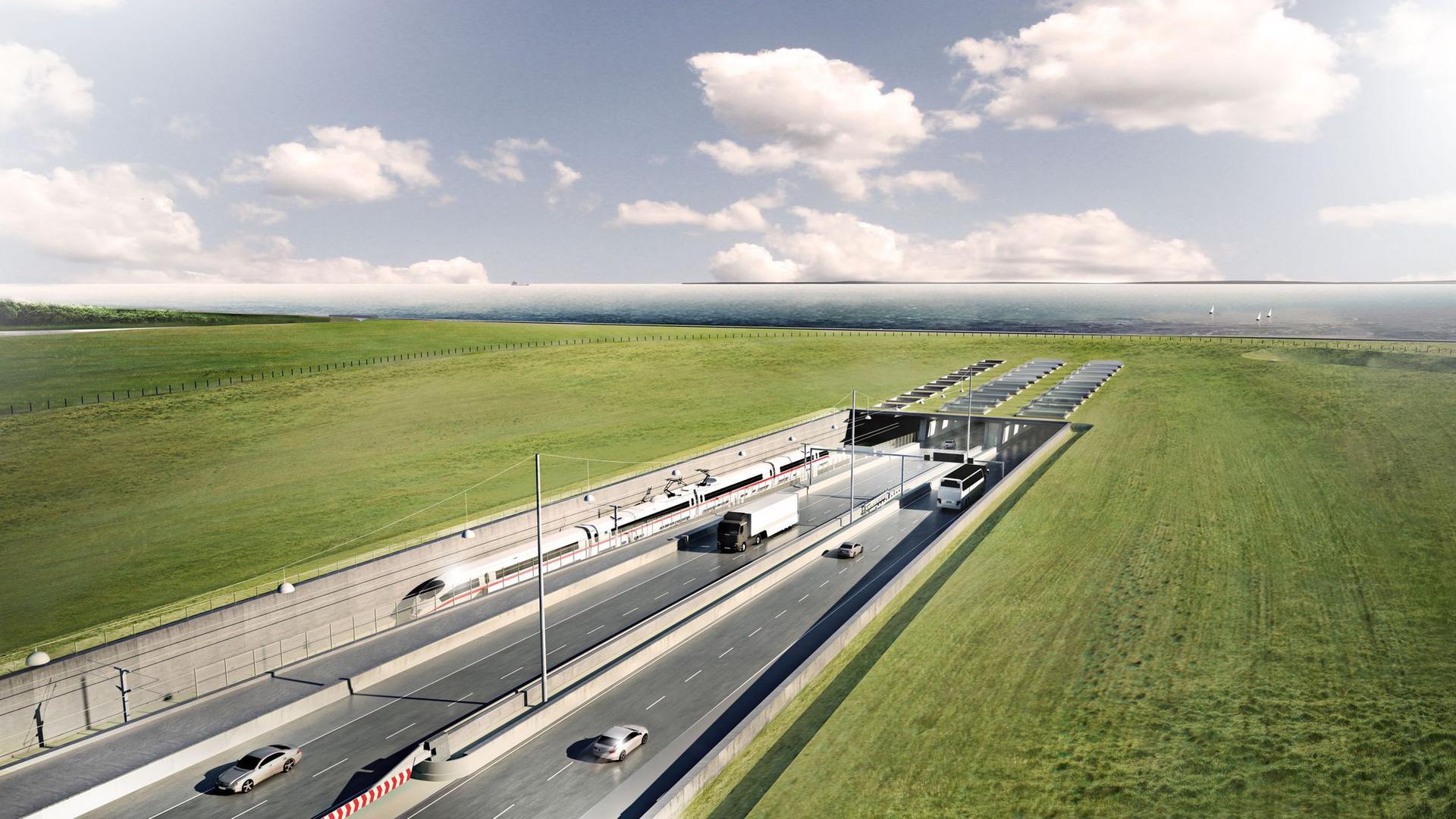 Eine Visualisierung des geplanten Fehmarnbelt-Tunnels zwischen Deutschland und Dänemark mit dem Tunneleingang auf dänischer Seite bei Rodbyhavn.