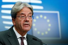 Paolo Gentiloni, EU-Wirtschaftskommissar, spricht auf einer Pressekonferenz im Anschluss an ein Treffen der Finanzminister der Eurozone inBrüssel.