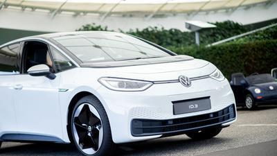 Ein VW ID.3 bei einem Pressetermin zur Auslieferung der ersten Volkswagen-Elektroautos.