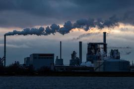Aus den Schornsteinen der Holzwerke am Wismarer Hafen steigt Rauch auf.