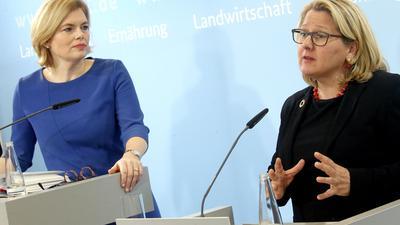 Landwirtschaftsministerin Julia Klöckner (l) und Umweltministerin Svenja Schulze.