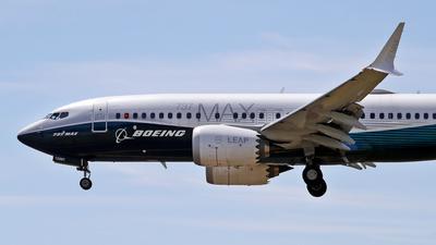 Ein Flugzeug vom Typ Boeing 737 Max befindet sich im Landeanflug.