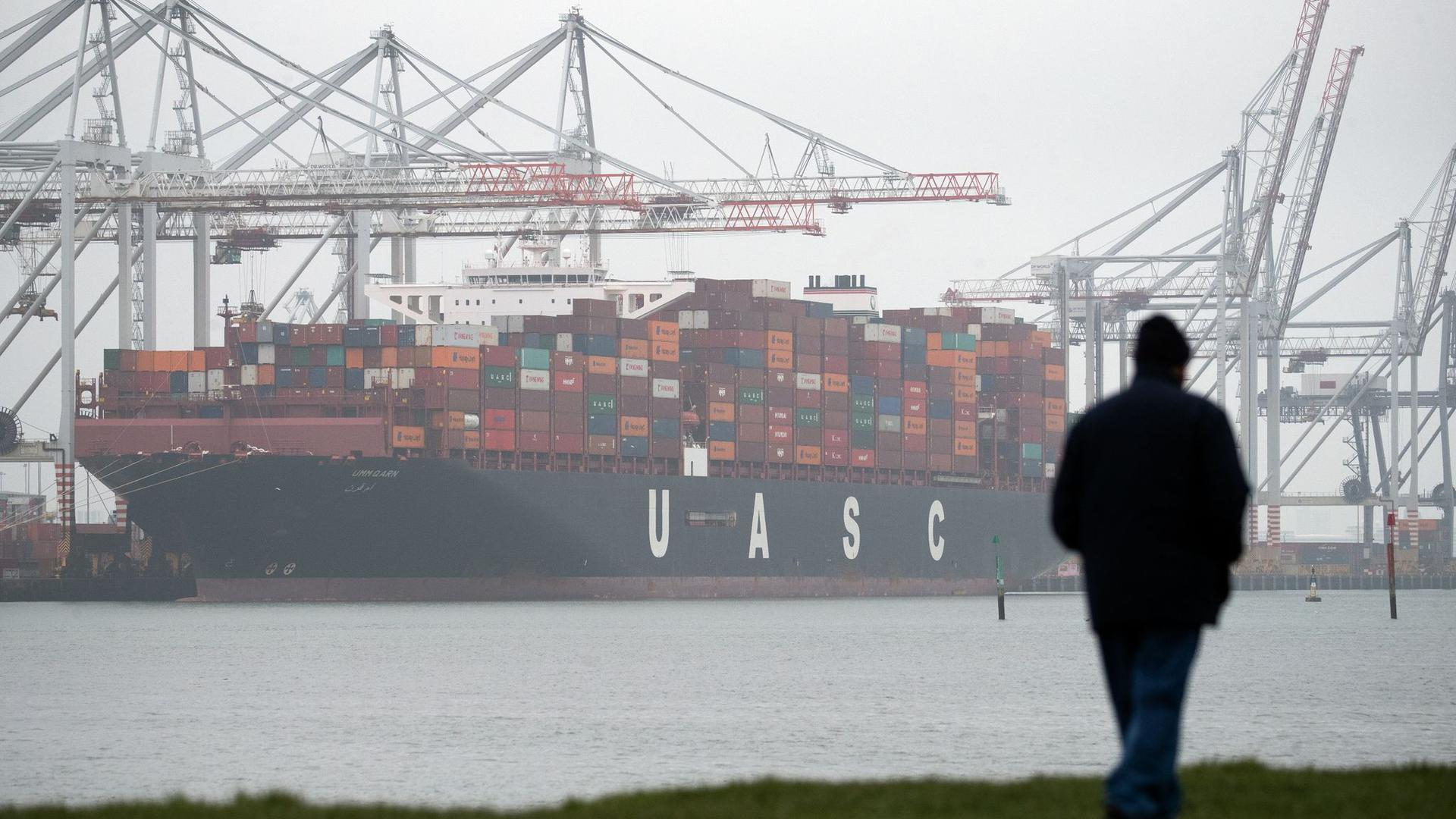 Containerschiff am Liegeplatz des DP World Containerterminals im Hafen von Southampton.