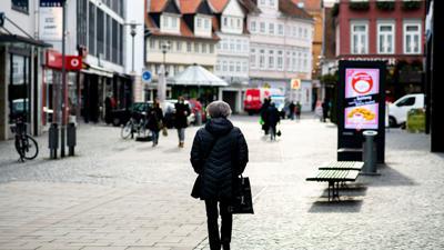 Kaum Besucher in der Corona-Pandemie:Die Fußgängerzone der Braunschweiger Innenstadt.