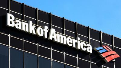 Das Logo der Bank of America ist auf der Fassade eines Gebäudes in LosAngeles zu sehen. Nach der größten US-Bank JPMorgan nun weitere wichtige Geldhäuser - darunter Bank of America - kräftige Gewinnsprünge gemeldet.