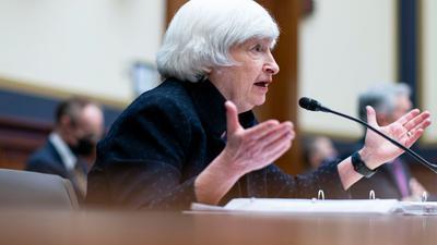 Finanzministerin Janet Yellen spricht während einer Anhörung des House Financial Services Committee auf dem Capitol Hill.