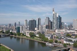 Die Bankenskyline von Frankfurt/Main.