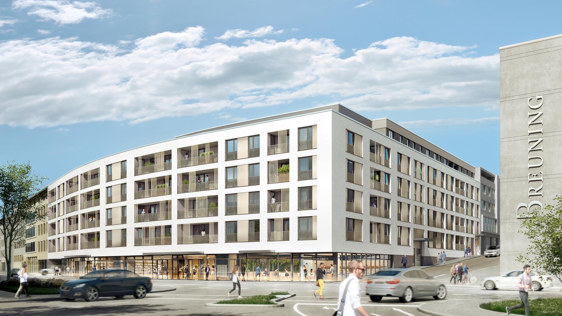 Visualisierung eines Wohnkomplexes an der Kreuzung Durlacher Straße/Belfortstraße in Pforzheim, wo auch dei Trauringfirma Breuning zu finden ist. Bauherr ist die PHEROH Projektentwicklungs GmbH.