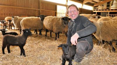 Ein Mann hockt in einem Schafstall, vor ihm ist ein Lamm.