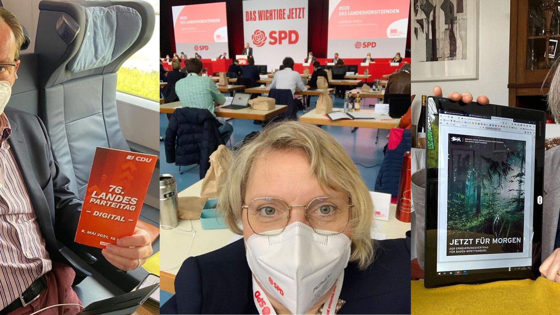 Drei Abgeordnete aus Pforzheim: Gunther Krichbaum loggte sich aus der Bahn beim Parteitag ein, Katja Mast war in Göppingen vor Ort, und Stefanie Seemann stimmte von zuhause über den Koalitionsvertrag im Land ab.