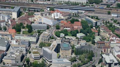 Das Pforzheimer Zentrum von oben.