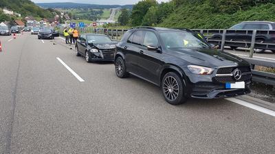An dem Auffahrunfall auf der A8 bei Pforzheim-Ost waren vier Fahrzeuge beteiligt.