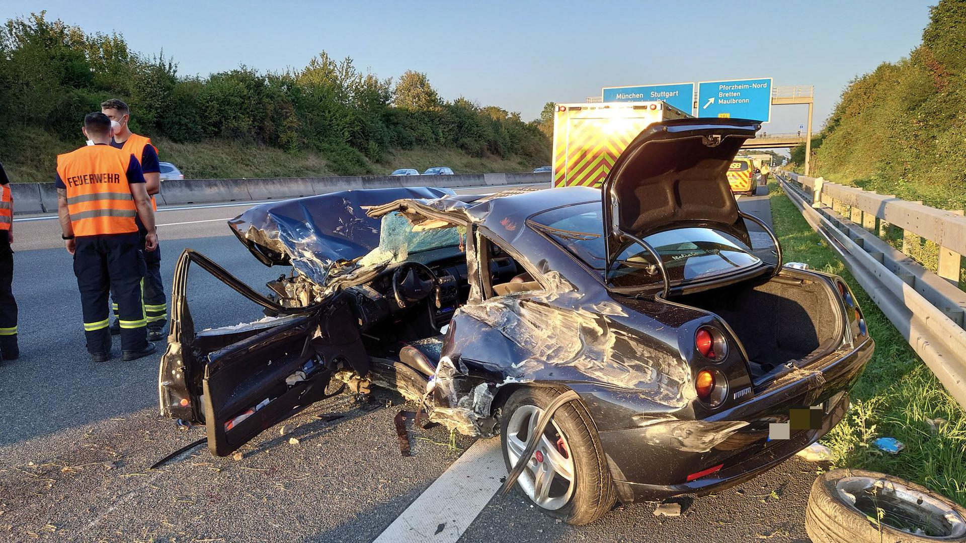 Schwerer Unfall auf der A8 bei Pforzheim.