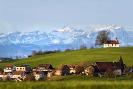 Die Morgensonne strahlt die Heilig-Kreuz-Kapelle auf dem Kapellenberg an, während im Hintergrund der Berg Säntis in der Schweiz zu sehen ist.