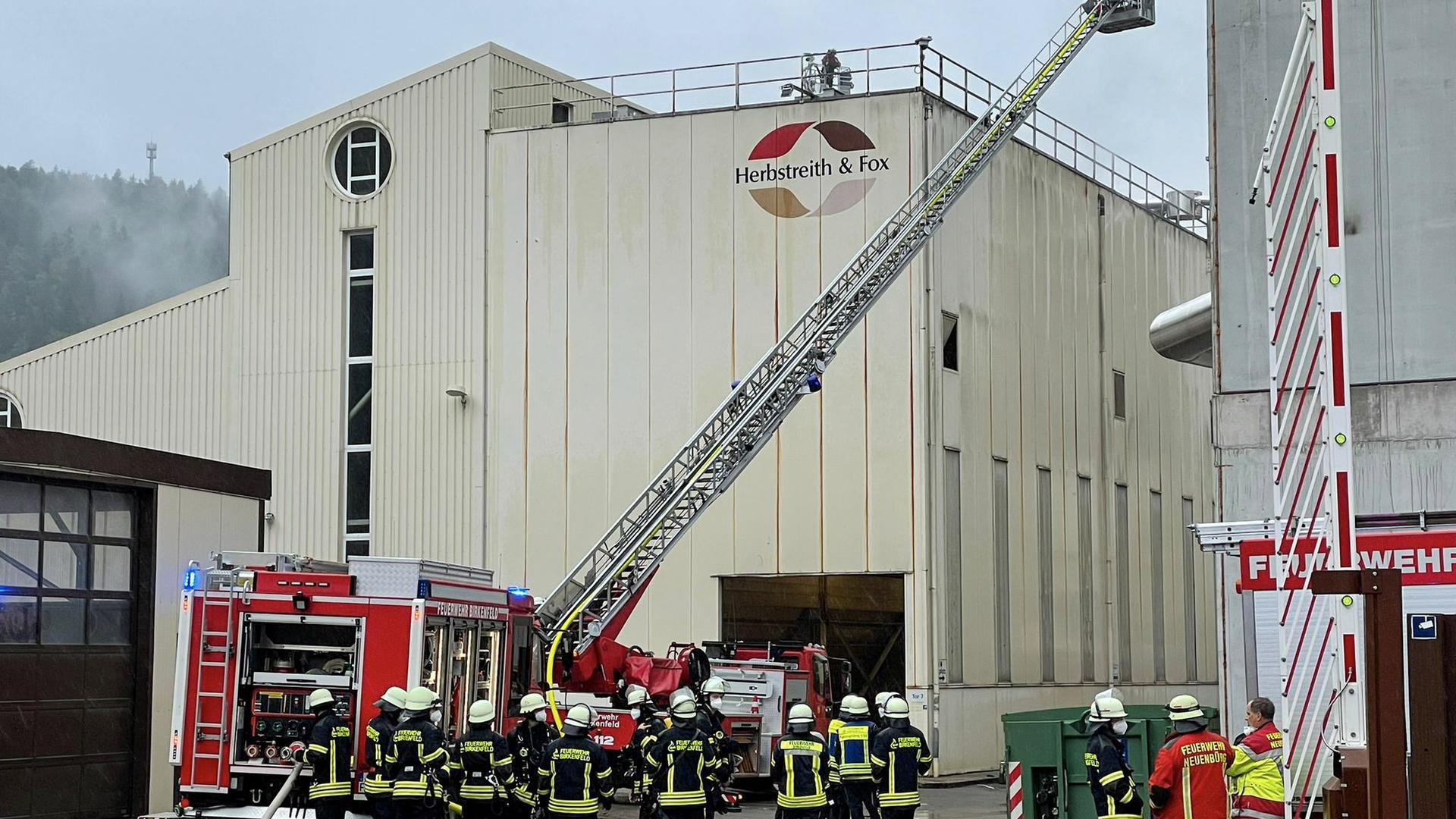 Feuerwehren kämpfen mit Drehleiter gegen Brand in der Silohalle der Pektinfabrik Herbstreith & Fox